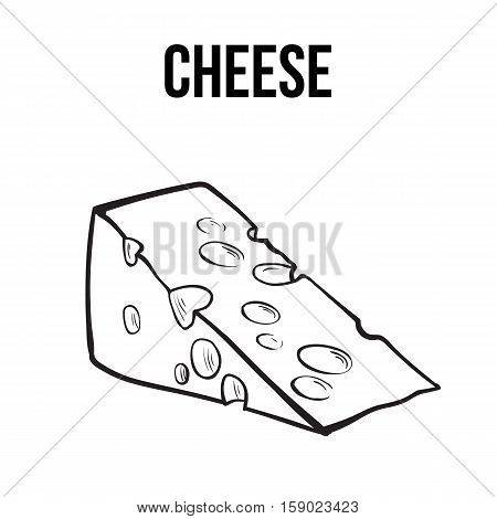 Hand drawn piece of Swiss cheese, sketch style vector illustration isolated on white background. Realistic hand drawing of an triangle chunk of fresh cheese with big holes