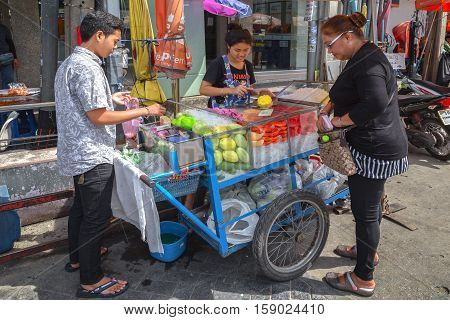 BANGKOK THAILAND - 22 Oct 2016 - Fruit shop on the streets of Bangkok. It is easy to find and cheap.