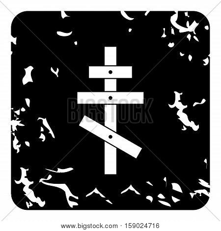 Orthodox cross icon. Grunge illustration of orthodox cross vector icon for web