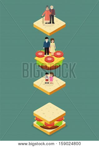 Sandwich Generation. Vector illustration in flat style