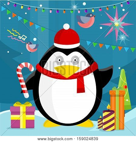 Penguin with candy stick near christmas presents on background with snow, fir trees, and new year garland. Winter holiday concept. Merry Christmas card, celebration holiday greeting card. Vector