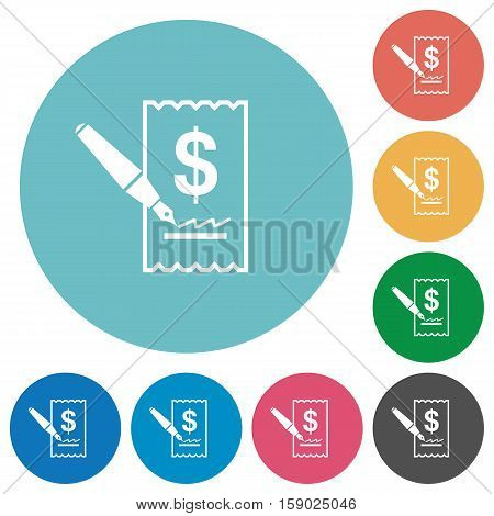 Cheque signing white flat icons on color rounded square backgrounds