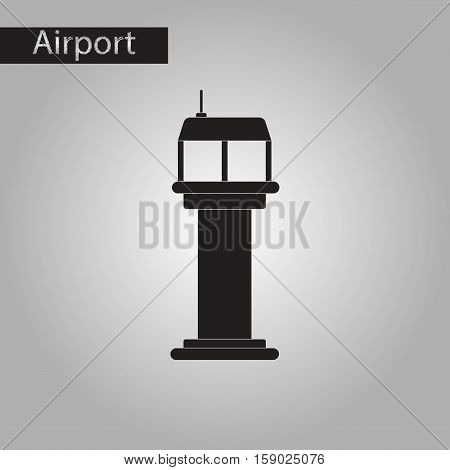 black and white style icon of airport control tower