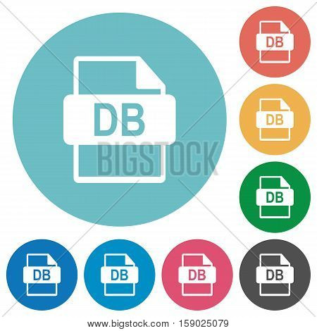 DB file format white flat icons on color rounded square backgrounds