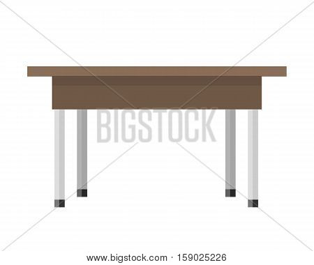 Wooden table in flat. Illustration of a classical brown wooden table with steel legs. Empty wooden deck table. Table icon. Isolated vector illustration on white background.