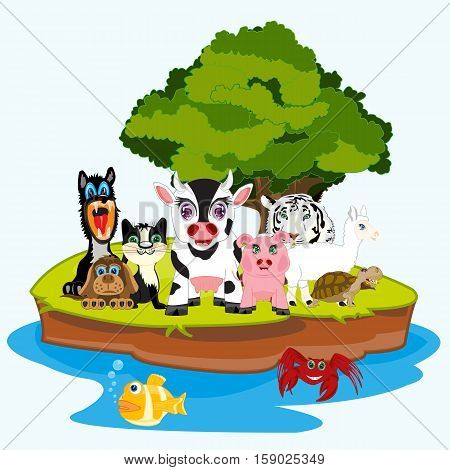 The Island in ocean and much animals on him.Vector illustration