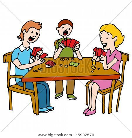 An image of a people playing a poker card game at a table.