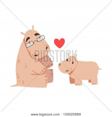 Hippo Dad With Glasses Animal Parent And Its Baby Calf Parenthood Themed Colorful Illustration With Cartoon Fauna Characters. Smiling Zoo Wildlife Loving Family Members United With Heart Symbol Vector Drawing