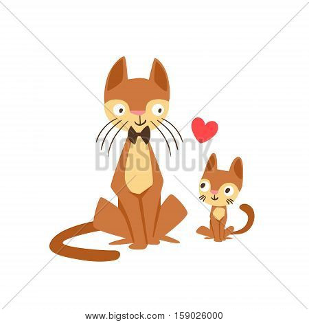Cat Dad With Bow Tie Animal Parent And Its Baby Calf Parenthood Themed Colorful Illustration With Cartoon Fauna Characters. Smiling Pet Loving Family Members United With Heart Symbol Vector Drawing