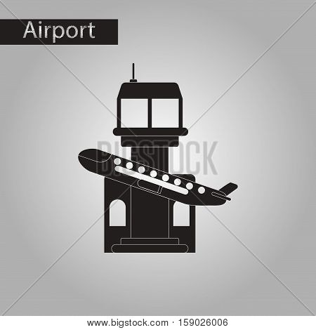 black and white style icon of plane takeoff airport