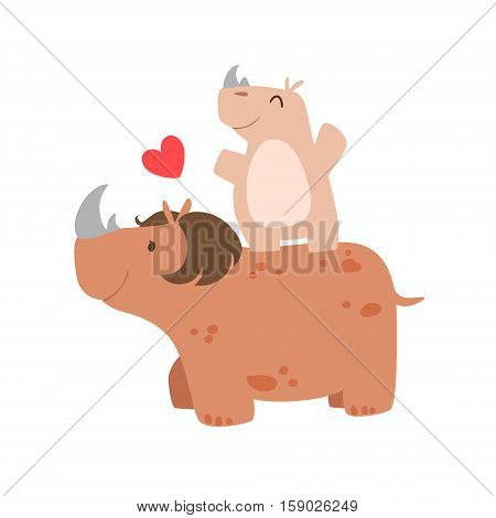 Rhinoceros Mom With Hairdo Animal Parent And Its Baby Calf Parenthood Themed Colorful Illustration With Cartoon Fauna Characters. Smiling Zoo Wildlife Loving Family Members United With Heart Symbol Vector Drawing