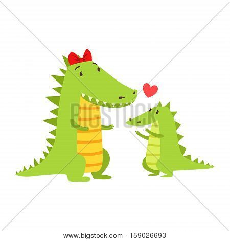 Crocodile Mom With Red Bow Animal Parent And Its Baby Calf Parenthood Themed Colorful Illustration With Cartoon Fauna Characters. Smiling Zoo Wildlife Loving Family Members United With Heart Symbol Vector Drawing