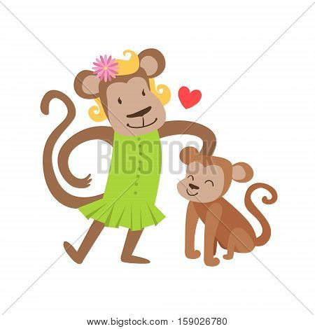 Monkey Mom In Dress Animal Parent And Its Baby Calf Parenthood Themed Colorful Illustration With Cartoon Fauna Characters. Smiling Zoo Wildlife Loving Family Members United With Heart Symbol Vector Drawing