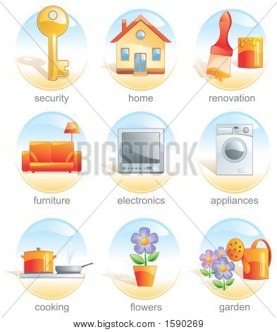 Icon Set - Home Related Items. Aqua Style. Illustration