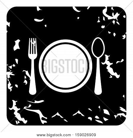 Plate with spoon and fork icon. Grunge illustration of plate with spoon and fork vector icon for web