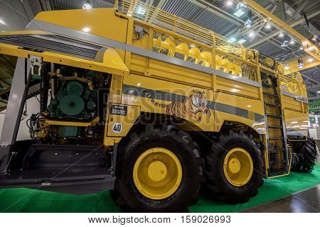 MOSCOW- OCTOBER 05, 2016: Sugar beet harvester Tiger 6 of the European company Ropa at the International Trade Fair AGROSALON, Crocus Expo