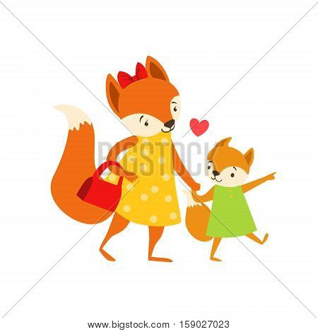 Fox Mom In Dress With Handbag Animal Parent And Its Baby Calf Parenthood Themed Colorful Illustration With Cartoon Fauna Characters. Smiling Zoo Wildlife Loving Family Members United With Heart Symbol Vector Drawing