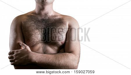 Man with hairy chest isolated on white background.