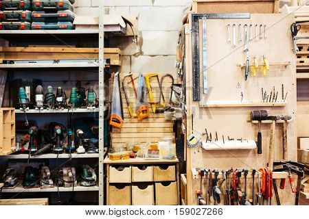 Empty workroom with technical instruments