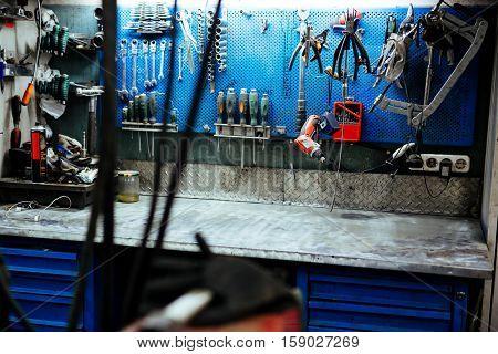 Sets of repair tools in workshop of troubleshooting