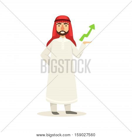 Arabic Muslim Businessman Dressed In Traditional Thwab Clothes And Wearing Headdress Kufiya Working In Financial Business Sphere With Arrow Showing Growth. Cartoon Arab Rich Sheikh Character In Islamic Outfit Flat Vector Illustration.
