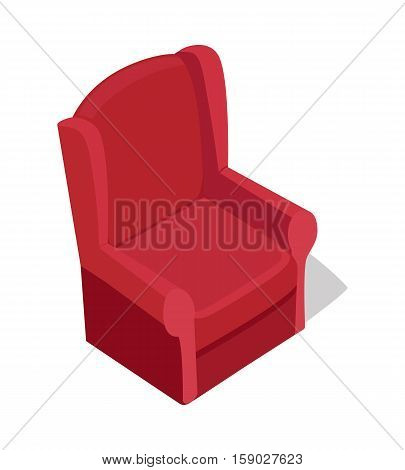 Red armchair vector in isometric projection. Comfortable furniture  illustration for stores advertising, app icons, infographics, logo, web and games environment design. Isolated on white background