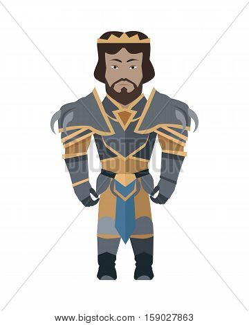 Game object of knight in steel medieval armor with crown. Character stand in front. Stylized fantasy characters. Game object in flat design on white game background. Vector illustration.
