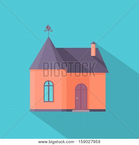 House vector in flat style. Home icon with long shadow. Cottage picture for real estate, building concepts, web, app pictogram, infographics,  logotype design. On blue background.