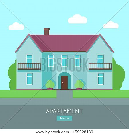 Modern apartment building. Blue house with purple roof. Home house in flat design style. Residential hous. Home, building, house exterior, real estate, family house, modern house. Website template.