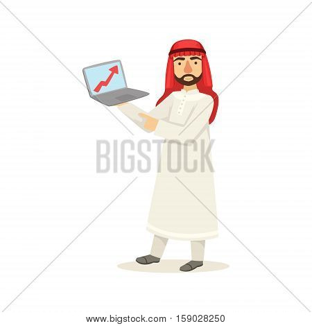 Arabic Muslim Businessman Dressed In Traditional Thwab Clothes And Wearing Headdress Kufiya Working In Financial Business Sphere With Chart On Lap Top. Cartoon Arab Rich Sheikh Character In Islamic Outfit Flat Vector Illustration.
