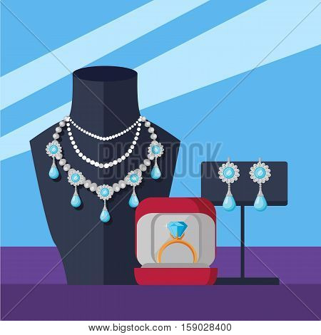 Jewelry shop banner. Store mannequin in jewelry shop with necklace. Counter jewelry in store window. Golden and silver jewelry at showcase of store. Vector illustration in flat