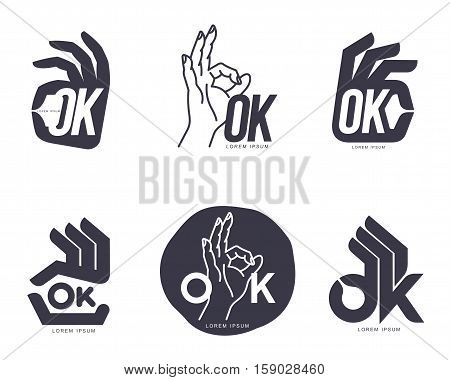 Set of hand showing OK sign logo templates, vector illustration isolated on white background. Collection of abstract creative black and white OK sign, corporate logo design element