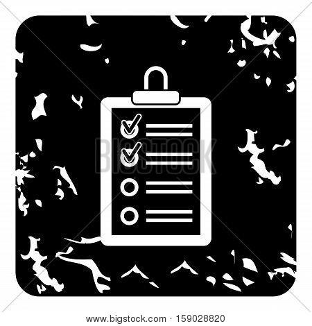 Clipboard with checklist icon. Grunge illustration of clipboard with checklist vector icon for web