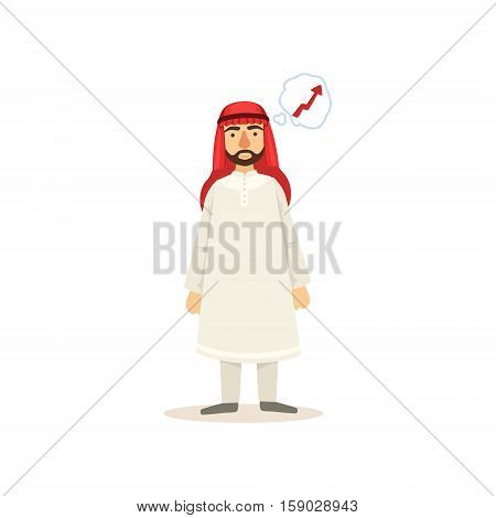 Arabic Muslim Businessman Dressed In Traditional Thwab Clothes And Wearing Headdress Kufiya Working In Financial Business Sphere Thinking Of Growth. Cartoon Arab Rich Sheikh Character In Islamic Outfit Flat Vector Illustration.