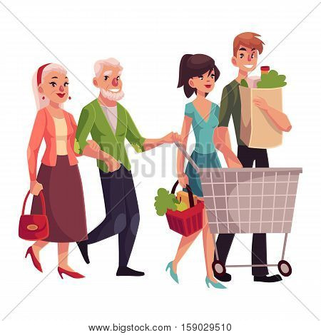Old and young couples shopping together, buying food in grocery store, cartoon vector illustration isolated on white background. Grandparents and grandchildren doing shopping together