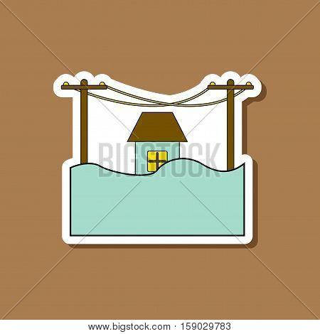 paper sticker on stylish background of flood house