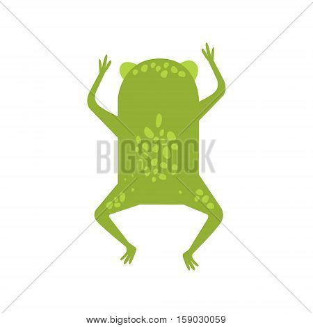 Frog Running Away Turning Its Back Flat Cartoon Green Friendly Reptile Animal Character Drawing. Part Of Toad And Its Different Positions And Activities Collection Of Childish Fauna Colorful Vector Illustrations.