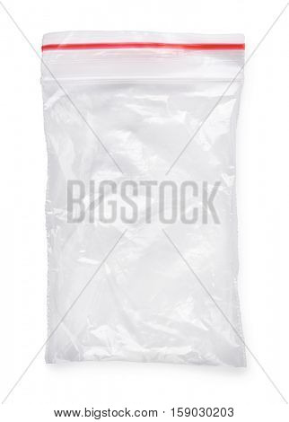 Used clear ziplock bag isolated on white