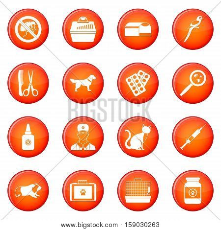Veterinary icons vector set of red circles isolated on white background