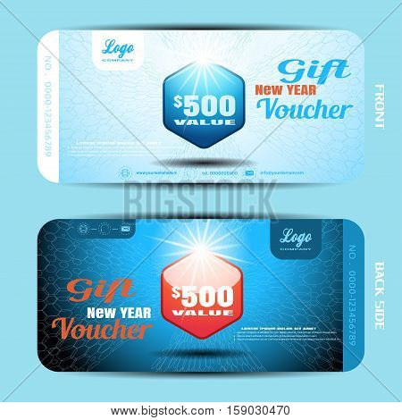 Vector new year gift voucher with label on the blue gradient background with hexagon pattern.