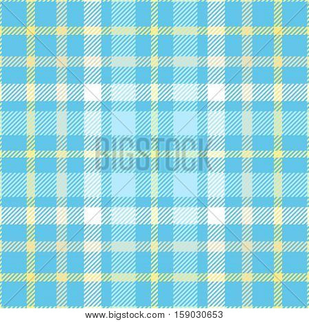 Seamless tartan plaid pattern. Checkered fabric texture in yellow, light blue & white stripes on bright azure blue background.