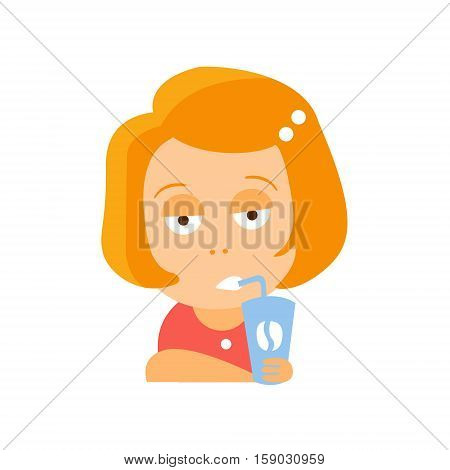 Little Red Head Girl In Red Dress Drinking Coffee With Bitchy Face Flat Cartoon Character Portrait Emoji Vector Illustration. Part Of Emotional Facial Expressions And Activities Of Small Cute Kid.
