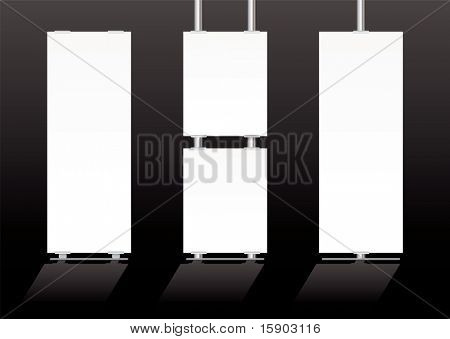 Blank white advertising banners ideal for expo or displays