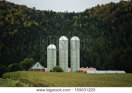 East Hereford Quebec Canada - September 30 2009: Three silos stand out against green hillside