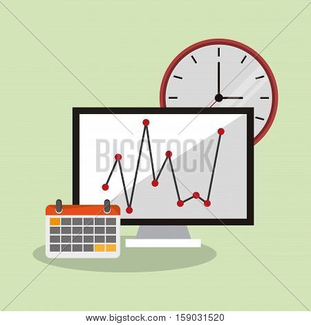 Computer clock and calendar icon. Worktime office supplies and workforce theme. Colorful design. Vector illustration