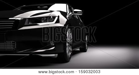 Modern new black metallic sedan car in spotlight. Generic contemporary desing, brandless. 3D rendering.
