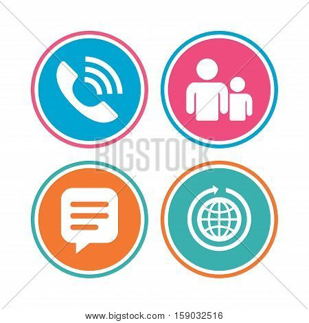 Group of people and share icons. Speech bubble and round the world arrow symbols. Communication signs. Colored circle buttons. Vector