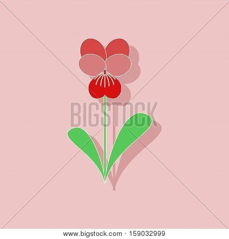 paper sticker on stylish background of plant Viola