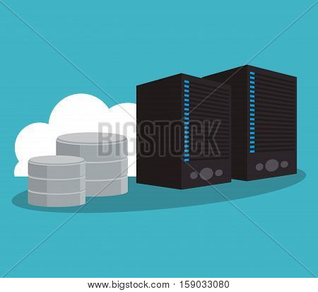 Web hosting and cloud computing icon. Data center base and security system theme. Colorful design. Vector illustration