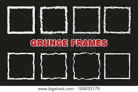 Set of hand drawn squares. Grunge textured frames. Abstract chalk elements. Doodle shapes. Handdrawn with pastel crayons. Vector illustration.